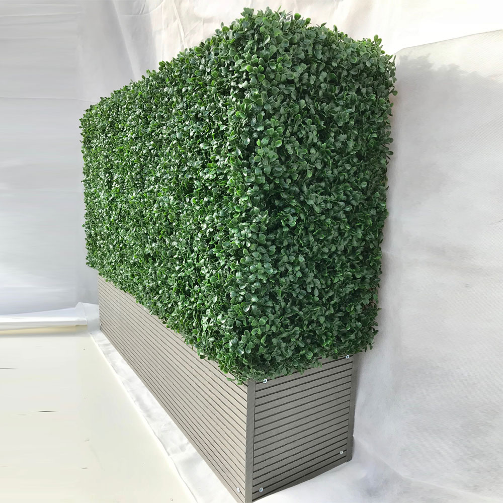 Artificial Boxwood Hedge with Composite Decking Planter ...