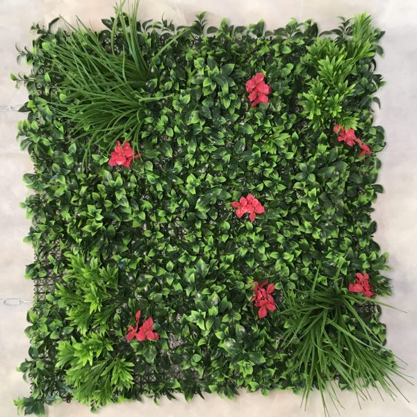 green wall with pink flowers